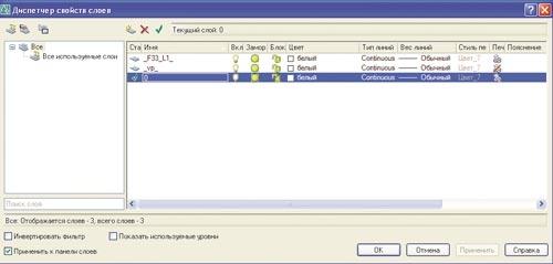 Рис. 4. Просмотр слоев шаблона формата A1 с помощью Диспетчера свойств слоев