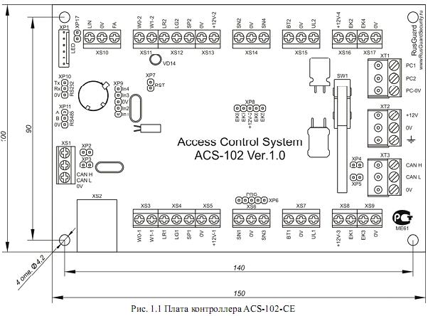 Схема подключения ACS-102-CE-B 1.