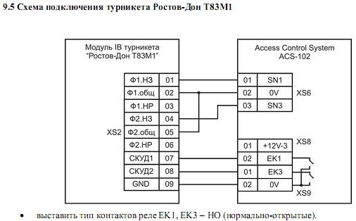 Схема подключения ACS-102-LE-S 6.