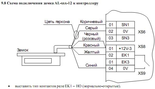 Схема подключения ACS-102-LE-B 9.