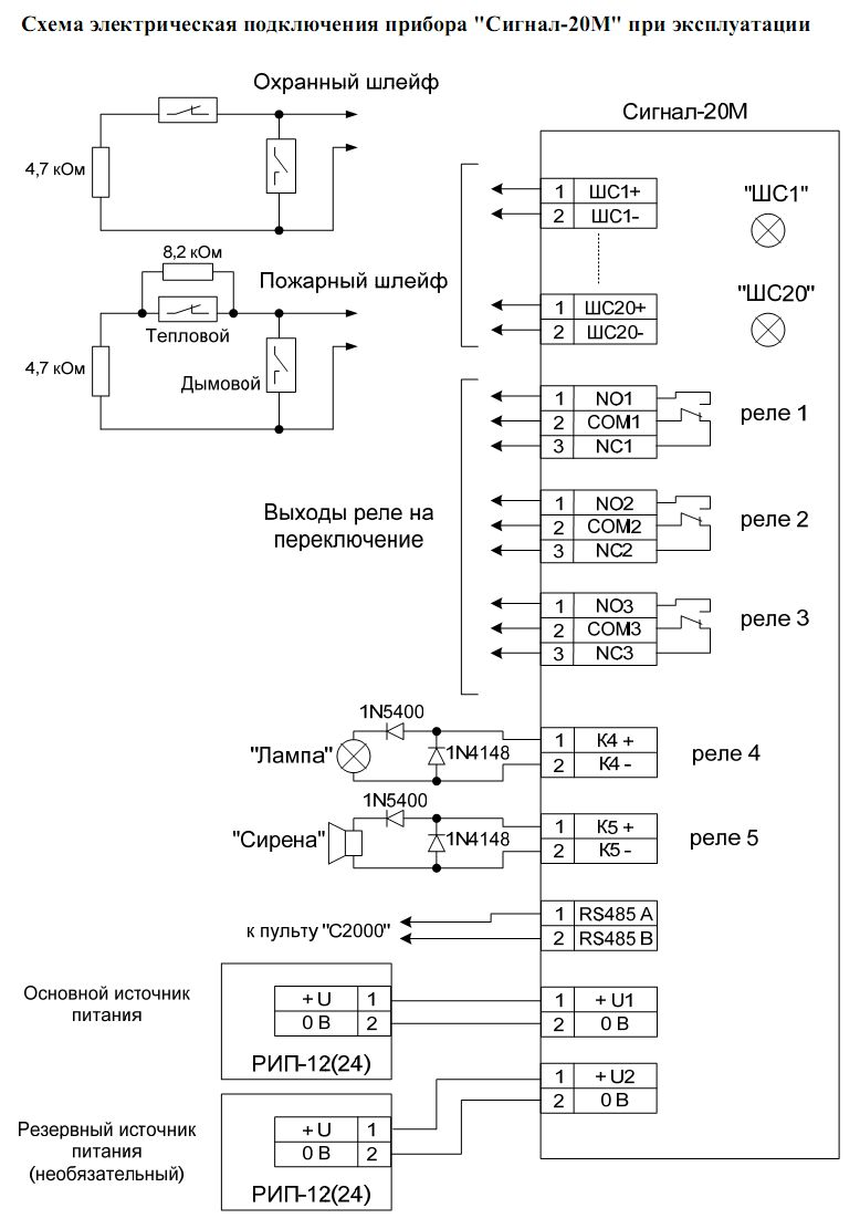 Схема подключения Сигнал-20М 1.