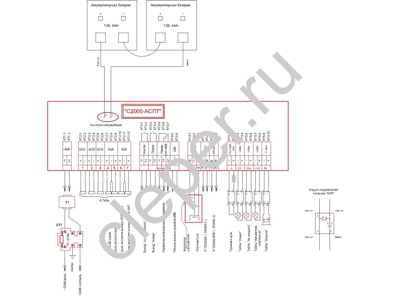Схема подключения с2000 сп1 и ук вк