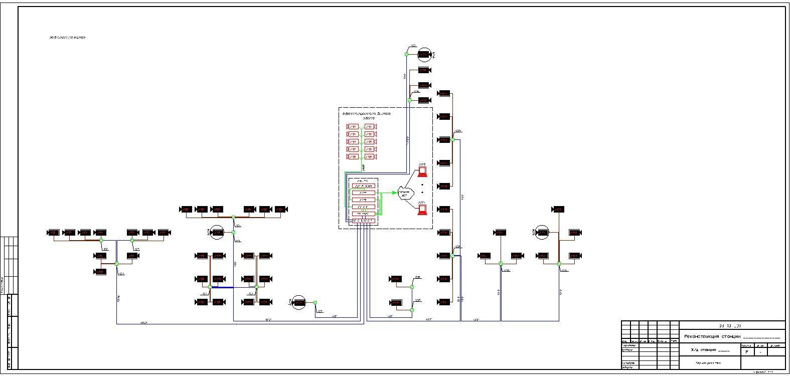 Схемы видеонаблюдения в автокаде