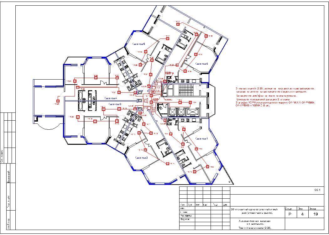 Типовой проект пожарной сигнализации и оповещения в школе.